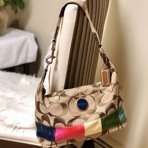 Coach Signature Stripe Multi Color Hobo Bag